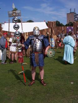 Standard Bearer wearing cavalry helmet