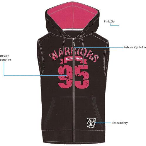 Warriors Zip-up Sleeveless Hoodie Ladies