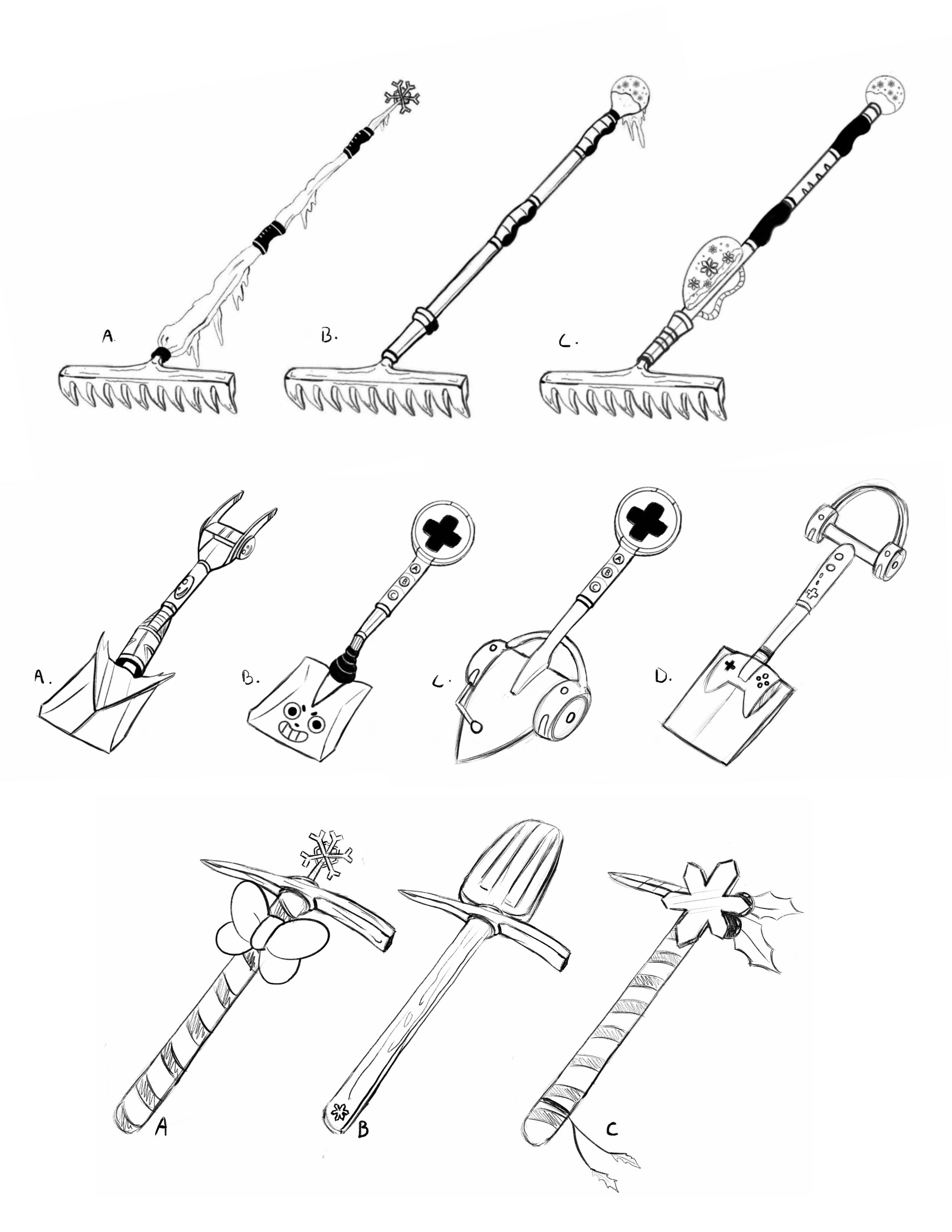 Rake, shovel and pick axe weapon props