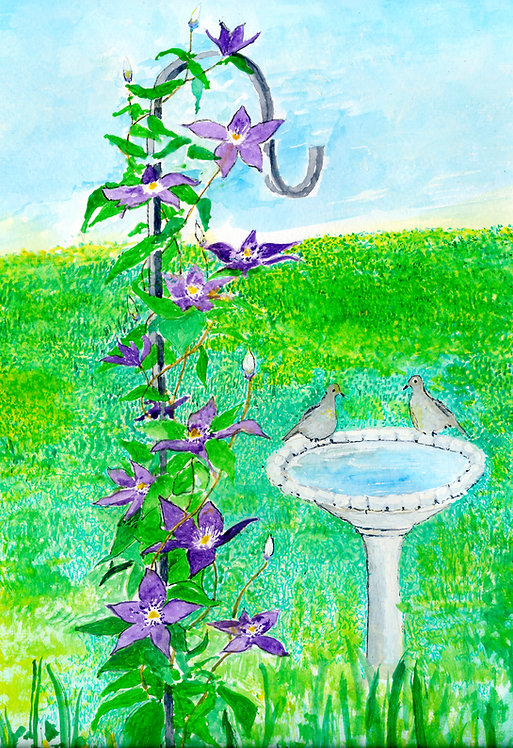 Clematis Rising Note Card