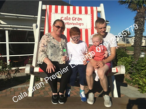 Family together in the big deckchair