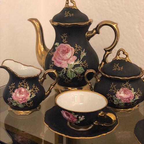 Service à café en porcelaine noire dorée - BAVARIA