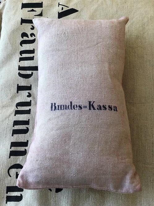"""Coussin """"sac de banque - Bundes=Kassa"""""""