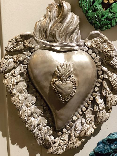 """Coeur en argile, fait main - Gris """"Ex-voto"""""""