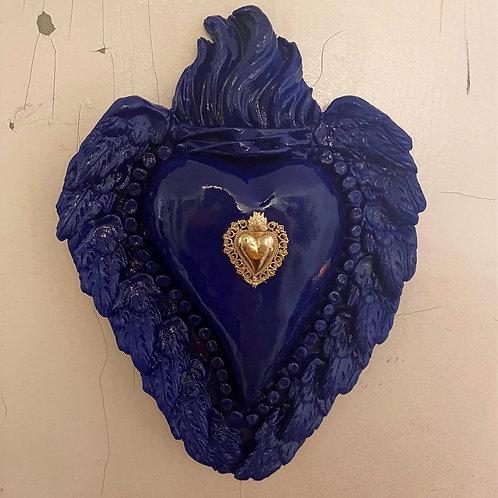 """Coeur en argile, fait main - Bleu roi """"Ex-voto"""""""