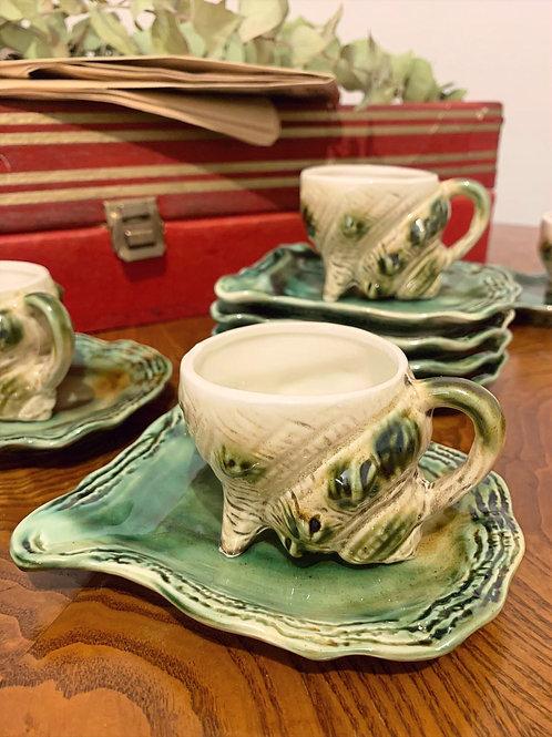 """Service à thé japonais """"coquillage bulot"""" années 80"""