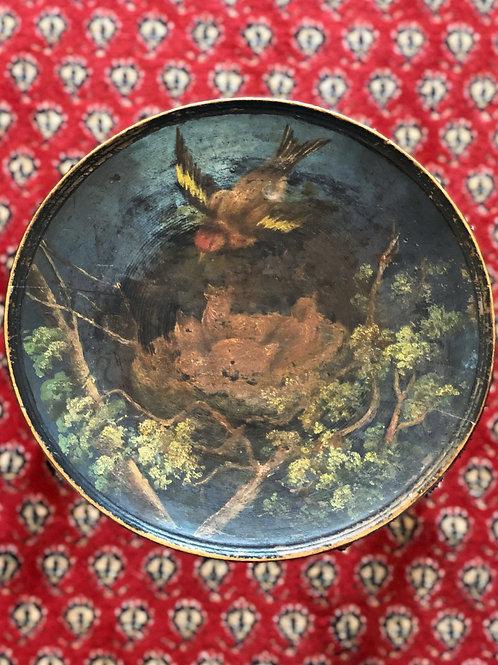 Tabouret en bois avec assise peinte à la main