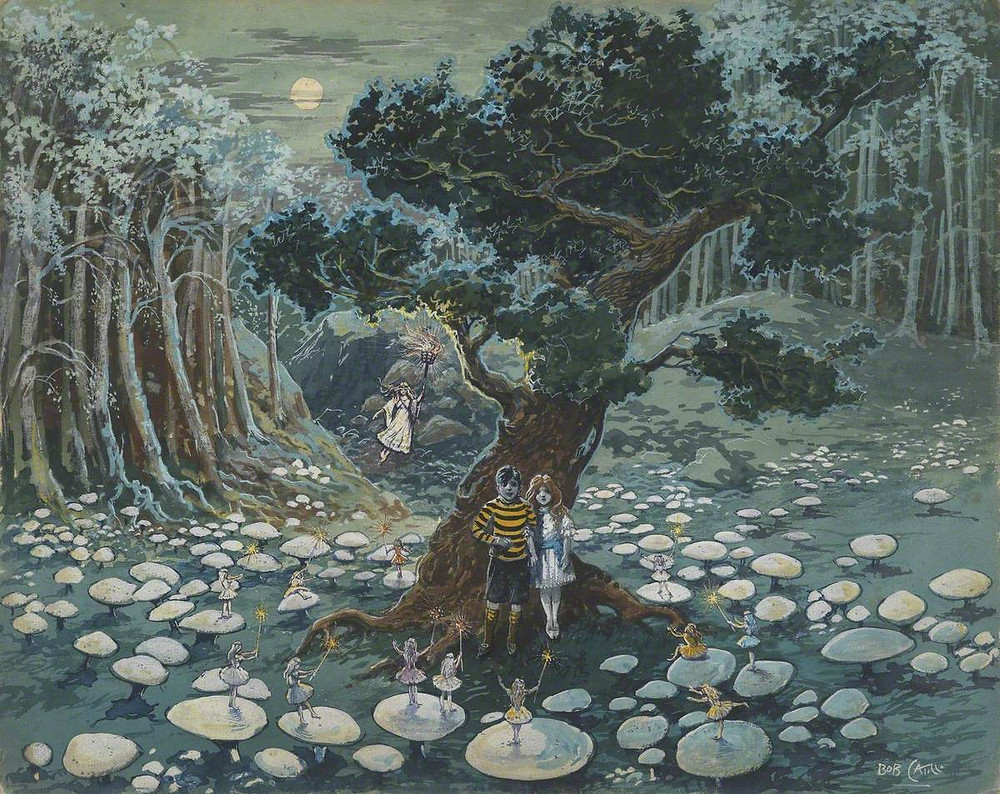 Image shows Two Children and Fairies on Toadstools by J.T.Cattle. Depicts two children in front of a large tree, surrounded by toadstools on the forest floor, which have a handful of fairies on top of them.