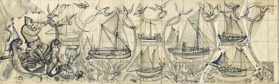 Image shows a sketch of Alan Sorrell's Working Boats from around the British Coast. The sketch depicts 7 boats, with a man on the left with a telescope surrounded by two mermaids.