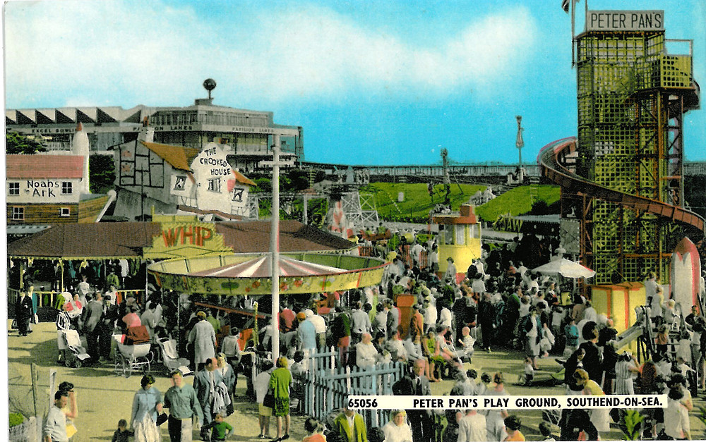 Image shows a postcard displaying Peter Pan's Playground in Southend-on-Sea,