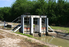 Irrigation canal water control gate in Hidalgo County, Texas.