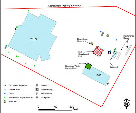 Map of structures and hazardous material storage areas at a Texas National Guard facility.