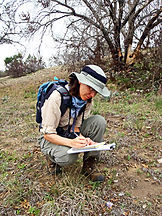 Staff biologist records observations on plant survey at Camp Swift outside of Bastrop, Texas.