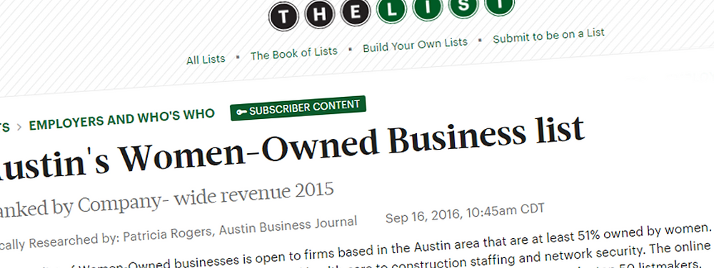 Austin Business Journal's Article on Top Austin Women-Owned Businesses