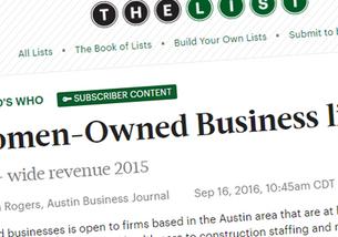 "AmaTerra Environmental #26 On Austin Business Journal's ""List"" for Women Owned Busines"