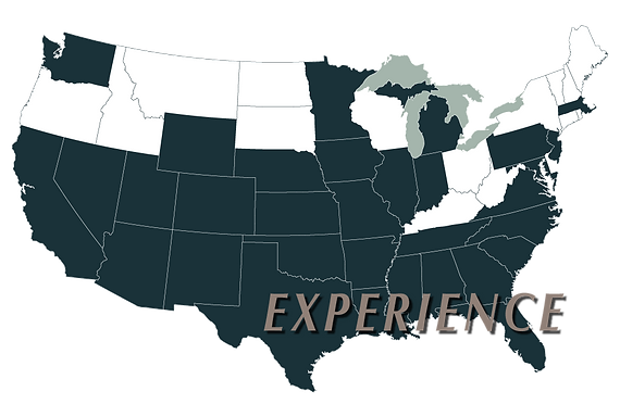 Map showing AmaTerra staff experience in almost every state in the CONUS along with investigations in Hawai'i and Guam (not pictured).