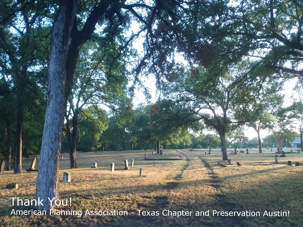 Morning sunrise at Austin's Plummers Cemetery, Austin, Texas