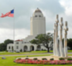"Celebrated Building 100 (the ""Taj Mahal"") and missing man monument at Randolph Air Force Base."