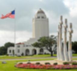 "Celebrated Building 100 (the ""Taj Mahal"") and missing man monument at Randolph Air Force Base."