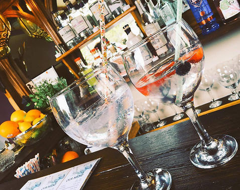 Beautifully presented G&Ts, placed on the Gin Wagon's bar.