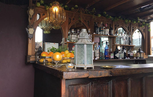 The Gin Wagon's beautifully converted bar with wide selection of gins.