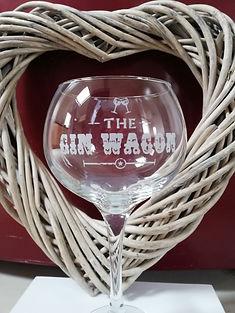 Balloon gin glass with Gin Wagon logo.