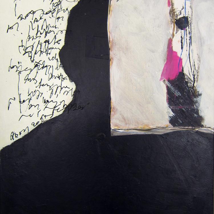 Adelin Donnay. Portrait de... technique mixte sur toile(encre-acrylique-collage) sur toile