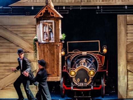Flying Grandpa hut with Chitty Chitty Bang Bang Stage Car