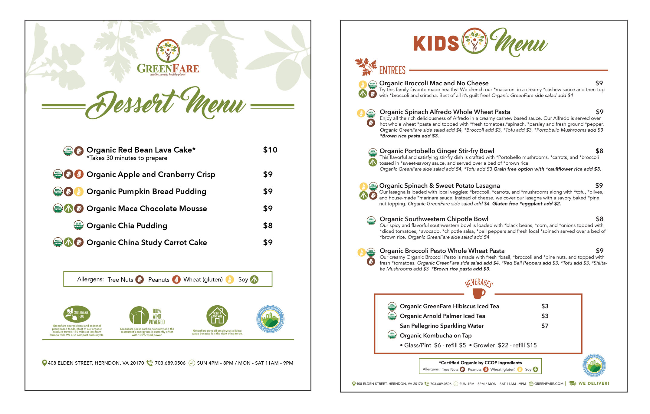 Kids and Dessert Menus