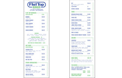 FlatTop printed menu