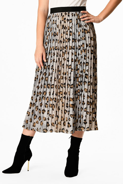 Esqualo / Skirt pintuck animal tile print