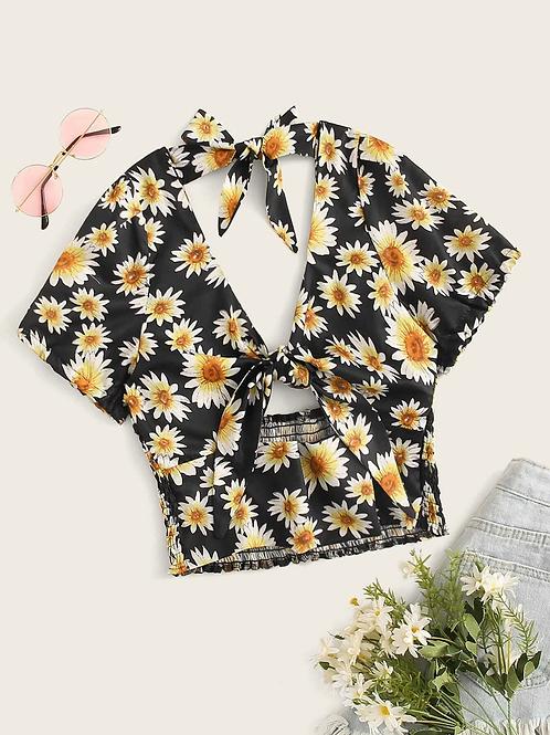 Esqualo / Blouse knot print daisy flower