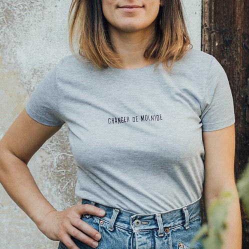 T-shirt Femme - Changer de MO(N)DE - Gris