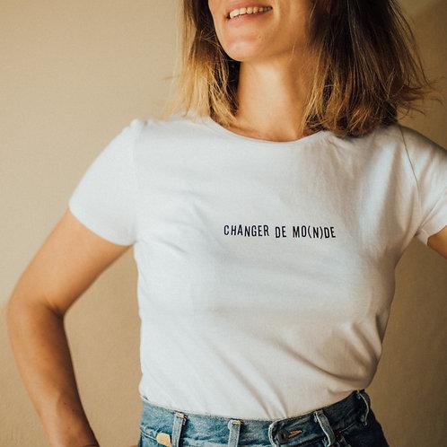T-shirt Femme - Changer de MO(N)DE - Blanc