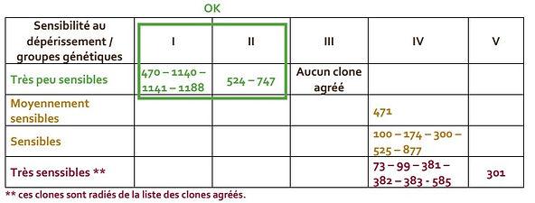 Tableau sélections clonales