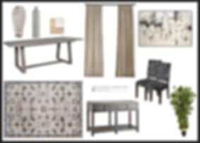 E design dining room mood board and rederer