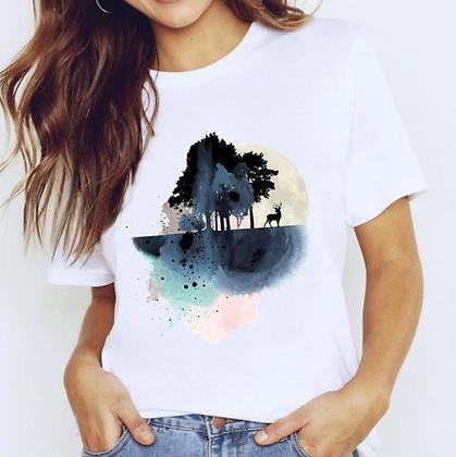 Abstract deer forest T-shirt