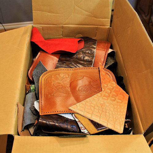 Great big box of leather scraps