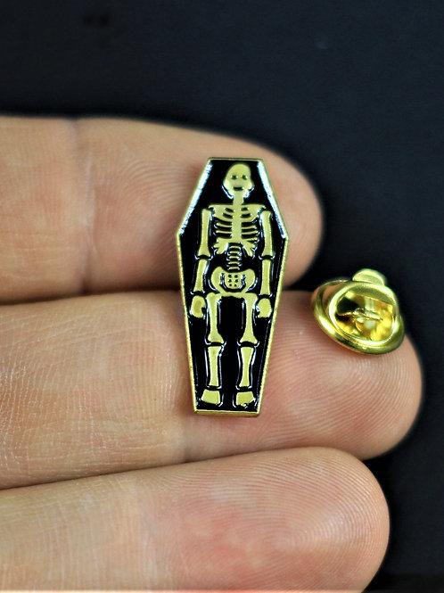 Cute skeleton in coffin, enamalled pin