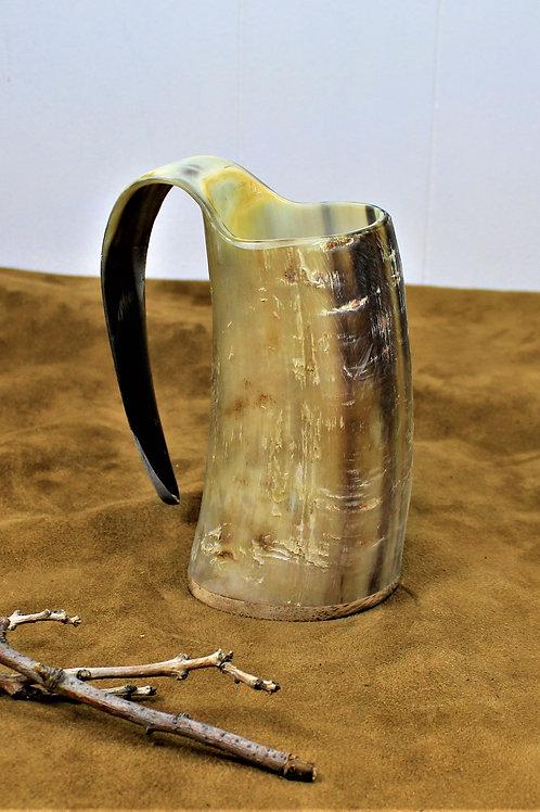Drinking horn mug, rough finish, Viking style tankard