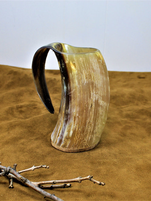 Drinking horn mug, rough finish, holds a beer