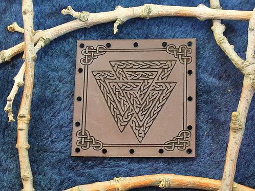 Valknut, symbol of duty, sacrifice and Odin, carved leather patch