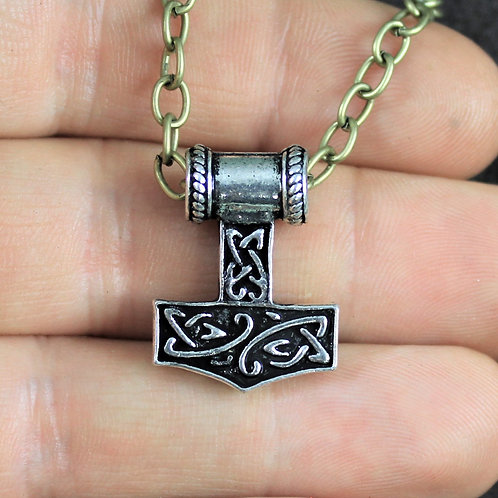 Thor's hammer necklace, tribal motif