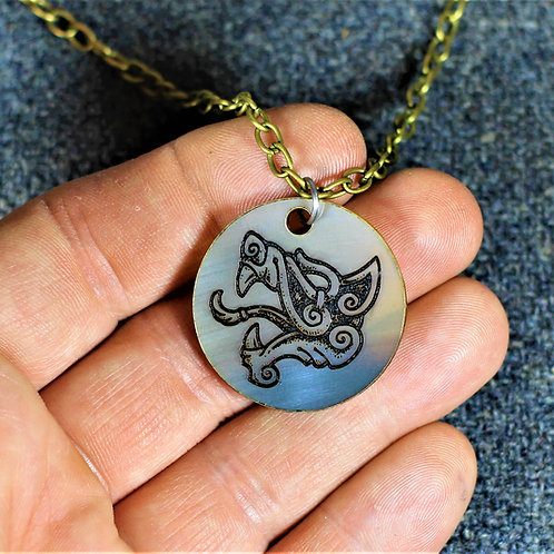 Viking wolf carved horn necklace, handmade