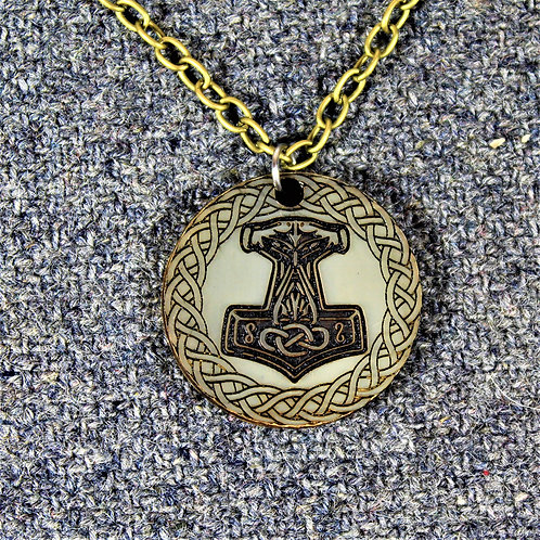Deluxe Mjolnir necklace, carved from horn