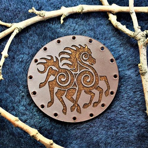 Sleipnir leather sew on patch, eight legged steed of Odin