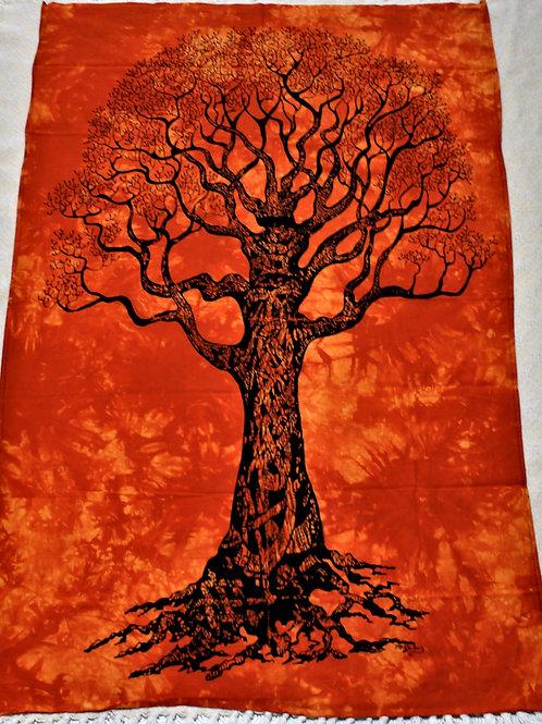 Yggdrassil tapestry, orange, world tree design