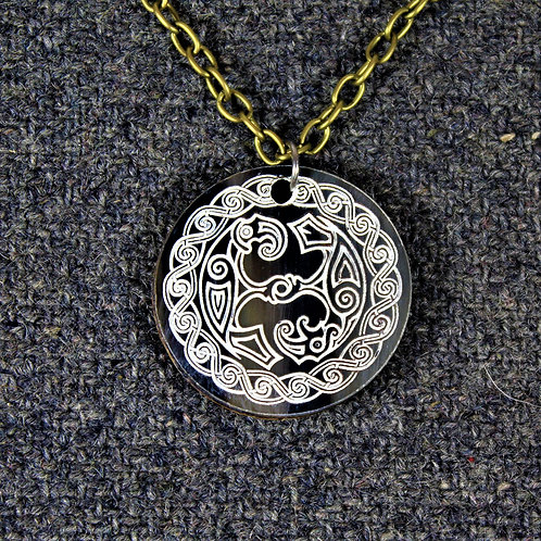 Deluxe ravens necklace, carved from horn