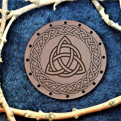 Celtic knot, triquetra leather patch