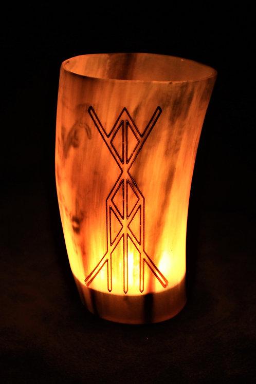 Horn canlde holder, health and vitality bind rune, fits a tealight